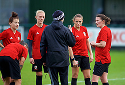 NEWPORT, WALES - Tuesday, November 6, 2018: Wales' Women's national team manager Jayne Ludlow with captain Sophie Ingle, Kayleigh Green and Helen Ward during a training session at Dragon Park ahead of two games against Portugal. (Pic by Paul Greenwood/Propaganda)