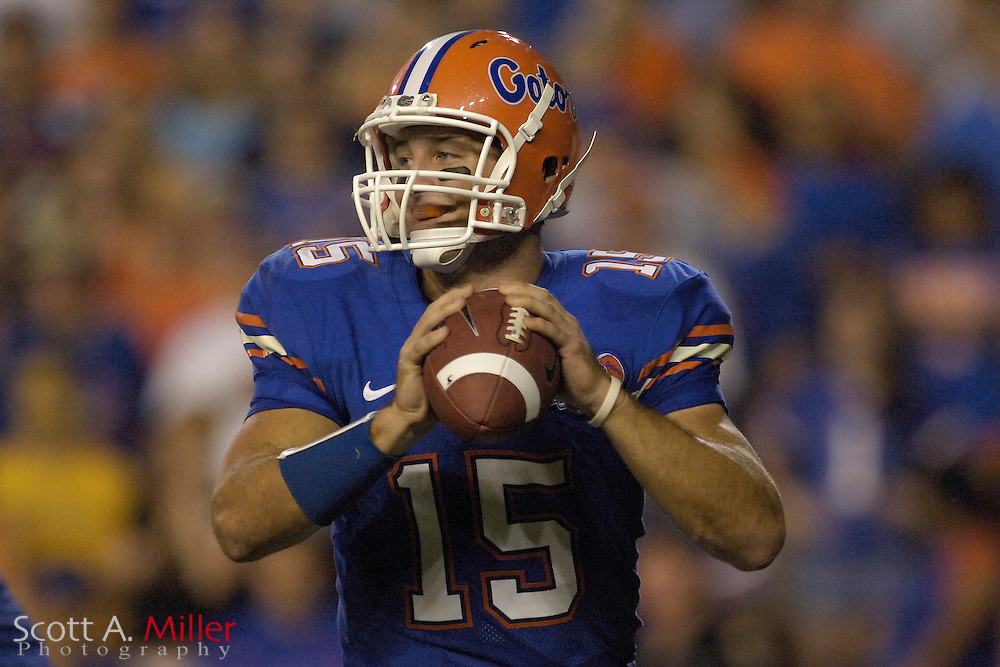 Sept. 9, 2006; Gainesville, FL, USA; Florida Gators quarterback Tim Tebow in action during the second half against the Central Florida Golden Knights at Ben Hill Griffin Stadium. Florida won the game 42-0. ...©2006 Scott A. Miller