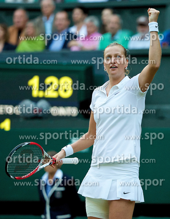 01.07.2014, All England Lawn Tennis Club, London, ENG, WTA Tour, Wimbledon, im Bild Petra Kvitova (CZE) celebrates winning the Ladies' Singles Quarter-Final match 6-1, 7-5 on day eight // during the Wimbledon Championships at the All England Lawn Tennis Club in London, Great Britain on 2014/07/01. EXPA Pictures &copy; 2014, PhotoCredit: EXPA/ Propagandaphoto/ David Rawcliffe<br /> <br /> *****ATTENTION - OUT of ENG, GBR*****