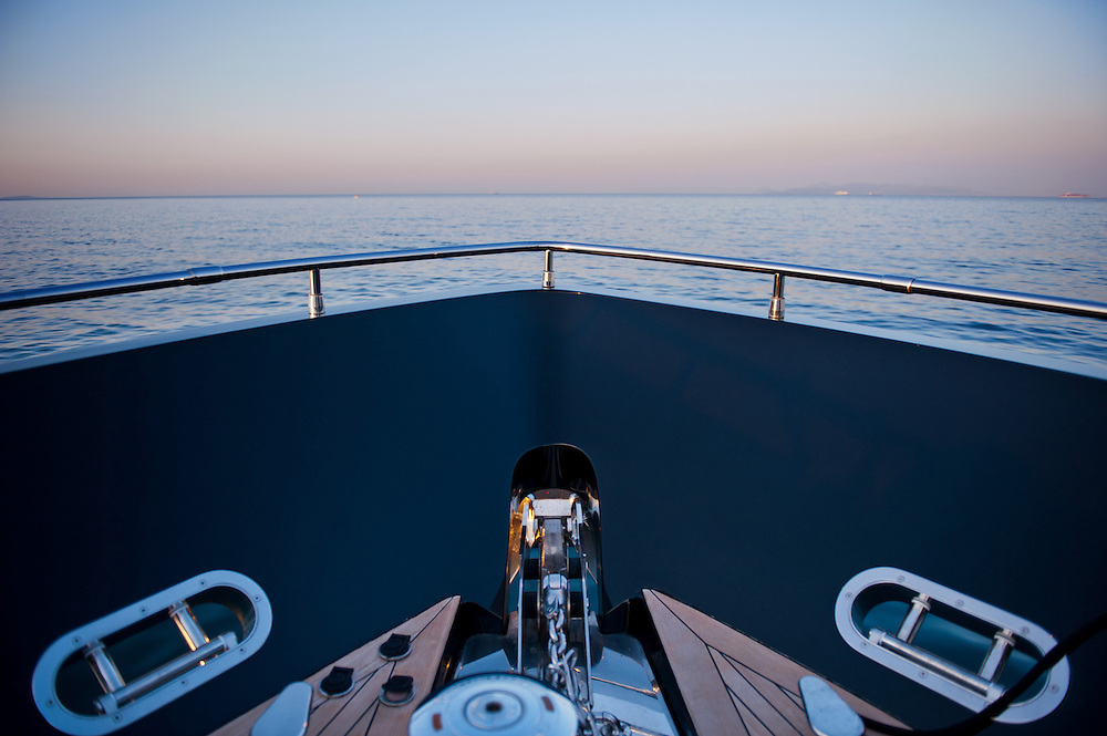 Luxury motor yacht George P on a trip from Flisvos Marina (Trocantero) to Ornos in Mykonos