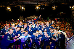 Team of Slovenia celebrate at celebration outside arena after volleyball match between National teams of Slovenia and Poland in semifinal of 2019 CEV Volleyball Men's European Championship in Ljubljana, on September 26, 2019 in Arena Stozice. Ljubljana, Slovenia. Photo by Matic Klansek Velej / Sportida