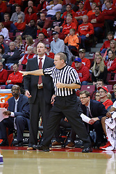29 December 2016:  Gerry Pollard counts time in front of Dan Muller, Head Coach during an NCAA  MVC (Missouri Valley conference) mens basketball game between the Evansville Purple Aces the Illinois State Redbirds in  Redbird Arena, Normal IL