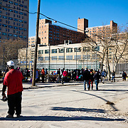 Lines of local Coney Island residents line up outside of FEMA and Redcross tents Become a volunteer with &quot;Occupy Sandy&quot; HERE:<br />