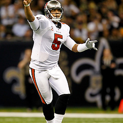 November 6, 2011; New Orleans, LA, USA; Tampa Bay Buccaneers quarterback Josh Freeman (5) against the New Orleans Saints during the second half of a game at the Mercedes-Benz Superdome. The Saints defeated the Buccaneers 27-16. Mandatory Credit: Derick E. Hingle-US PRESSWIRE