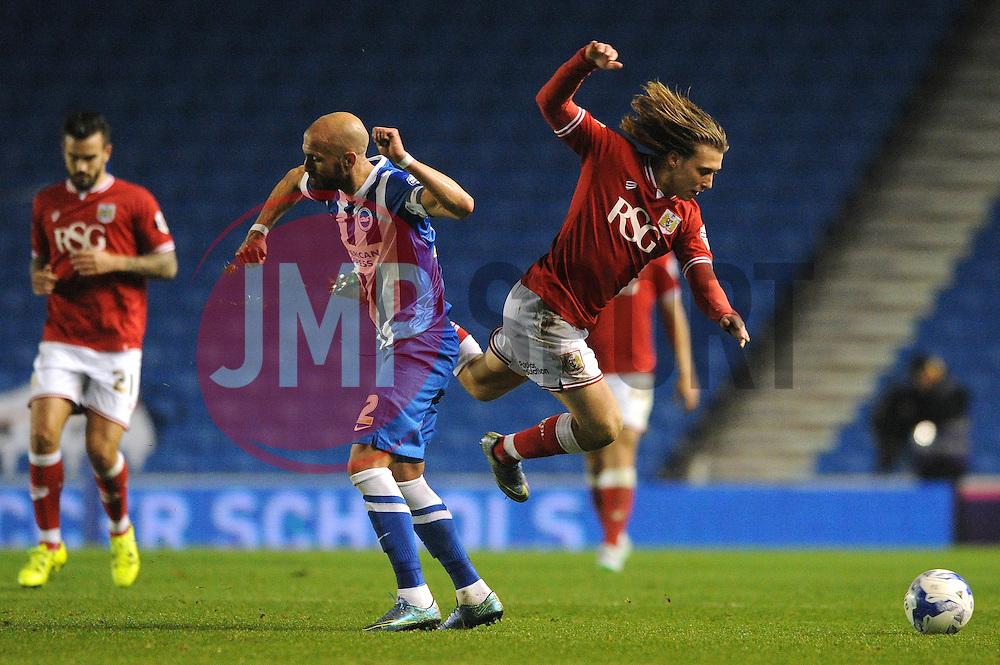 Luke Freeman of Bristol City is fouled by Bruno Saltor of Brighton & Hove Albion - Mandatory byline: Dougie Allward/JMP - 07966 386802 - 20/10/2015 - FOOTBALL - American Express Community Stadium - Brighton, England - Brighton v Bristol City - Sky Bet Championship