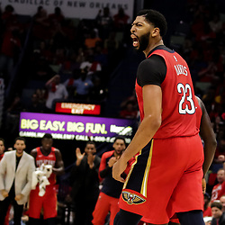 Oct 19, 2018; New Orleans, LA, USA; New Orleans Pelicans forward Anthony Davis (23) reacts during the second quarter against the Sacramento Kings at the Smoothie King Center. Mandatory Credit: Derick E. Hingle-USA TODAY Sports