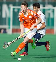 ROTTERDAM -   Pepijn Reijenga (Neth)  with Rohan Bruhi (Eng)  Practice Match  Hockey : Netherlands Boys U16  v England U16 . COPYRIGHT KOEN SUYK