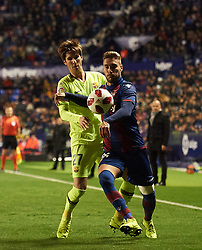 January 10, 2019 - Valencia, Valencia, Spain - Ruben Rochina of Levante UD and Miranda of FC Barcelona during the Spanish Copa del Rey match between Levante and Barcelona at Ciutat de Valencia Stadium on Jenuary 10, 2019 in Valencia, Spain. (Credit Image: © Maria Jose Segovia/NurPhoto via ZUMA Press)
