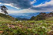 A landscape of the Himalayan mountain ranges from Hatu Peak in Narkanda region of Shimla, Himachal Pradesh, India