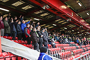 Forest Green Rovers travelling support during the EFL Sky Bet League 2 match between Crewe Alexandra and Forest Green Rovers at Alexandra Stadium, Crewe, England on 27 April 2019.