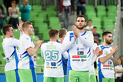 Players of Slovenia greet fans after handball match between National Teams of Slovenia and Germany in 2018 Men's World Championship Qualifications, on May 3, 2017 in SRC Stozice, Ljubljana, Slovenia. Photo by Morgan Kristan / Sportida