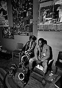 Fela Kuti with Sandra Izsadore -  backstage at the Shrine - Lagos - 1978