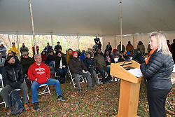Katie Newsom Pastuszek, Executive Director<br /> Philadelphia Outward Bound School.<br /> <br /> With a ceremonial singing of the lease Philadelphia Outward Bound School and Audubon Pennsylvania kick of the Discovery Center project in the East Fairmount Park section of the city. (Bas Slabbers/for Philadelphia Outward Bound School)