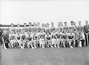 Neg No: 860/a1769-a1778,..4091955AISHCF,..04.09.1955, 09.14.1955, 4th September 1955,..All Ireland Senior Hurling Championship - Final,..Wexford.03-13,.Galway.02-08,..Wexford,. ..Back Row (from left)  Kevin Sheehan, Paddy Kehoe, Jim Morrissey, Martin Codd, Nicky Rackard, Tom Ryan, Ted Bolger, Oliver Gough, William Wickham, Mick Hanlon, Tom Dixon, Harry O'Connor, Ned Wheeler, Front row (from left) Tim Russell, Tim Flood, Bobbie Rackard, Jim English, Paddy Kehoe, Mick Morrissey, Nick O'Donnell (captain), Art Foley, Chris Casey, Billy Rackard, Don Ahearne, Seamus Hearne, ..