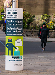 Pictured: Leith Walk Council By-Election, Leith Walk,  Edinburgh, Scotland, 10 April 2019. Pictured:  Leith Walk. A poster outside one of the Ward polling stations at Pilrig St Paul's Church Hall encourages residents to vote.  The by-election takes place on Thursday April 11.<br /> <br /> Sally Anderson | EdinburghElitemedia.co.uk