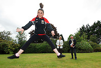 Michelle Devine, from Lawn Tower in Derry  practicing under the watchfull eye of Minister Mary Hannafin and President of the HSE Commuity Games Miceal Curley,   before performing at  the HSE Community Games National finals 2010 held at the AIT, (Athlone Institute of Technology). Photo:Andrew Downes.