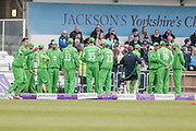 Lancashire Lightning players are out and ready to play during the Royal London 1 Day Cup match between Yorkshire County Cricket Club and Lancashire County Cricket Club at Headingley Stadium, Headingley, United Kingdom on 1 May 2017. Photo by Mark P Doherty.