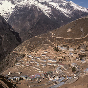 Namche Bazaar, Largest town in the Sherpa region of Khumbu, Nepal.