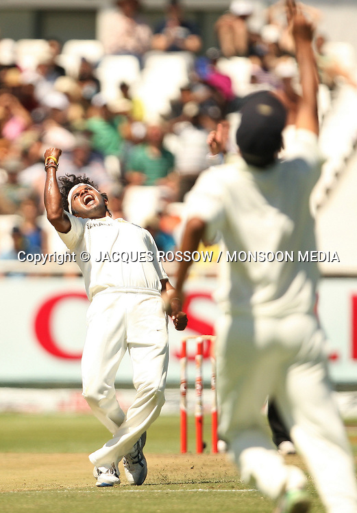 Sree Sreesanth celebrates the wicket of Mark Boucher during Day 2 of the third and final Test between South Africa and India played at Sahara Park Newlands in Cape Town, South Africa, on 2 January 2011. Photo by Jacques Rossouw / MONSOON MEDIA