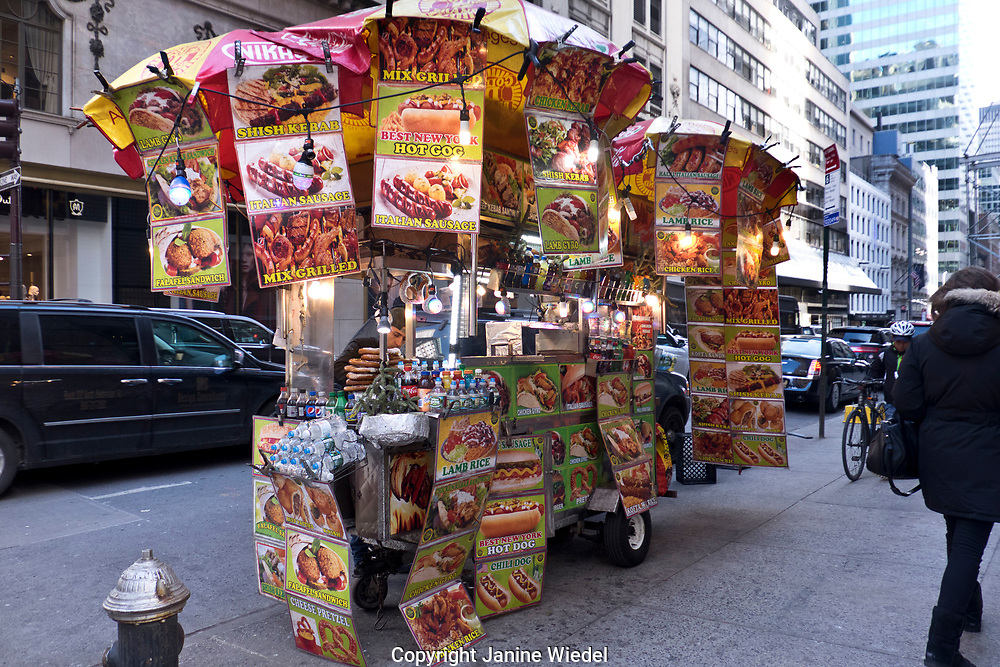 Fast food street food cart in New York City USA