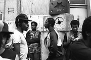 Group of black men, sound system, Notting Hill Carnival, London, UK, 1983