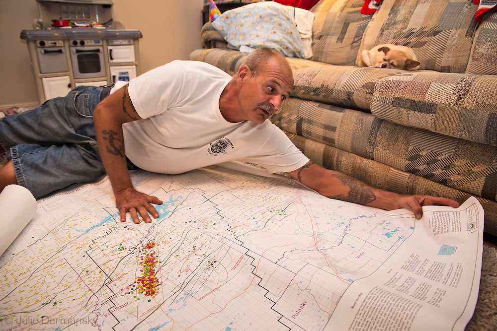Dirk DeTurck shows how the area in Greenbrier, Arkansas in Faulkner County which sits on top of the Fayetteville Shale was the center to earthquake swarms that started shortly after the fracking industry started.  DeTurck sold his house at over a $100k  loss to get away from living next to a frack site. He and his family experienced negative impacts to their health. DeTurck investigated the connecting between the injection wells near his home and the earthquakes that rocked the area. DeTurck remains active in trying to educate others to the dangers of the fracking industry.