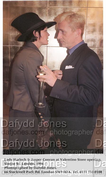 Lady Harlech & Jasper Conran at Valentino Store opening. Sloane St. London. 1996<br />Photographed by Dafydd Jones. 66 Stockwell Park Rd. London SW9 0DA. Tel. 0171 733 0108