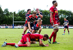 Reiss Cullen of Bristol Rugby celebrates scoring a try - Rogan/JMP - 05/08/2017 - RUGBY UNION - Cleve RFC - Bristol, England - Bristol Rugby v Harlequins - Pre-Season Friendly.