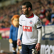 Prince-Desire Gouano (Bolton) about to take a corner during the Sky Bet Championship match between Bolton Wanderers and Brentford at the Macron Stadium, Bolton, England on 30 November 2015. Photo by Mark P Doherty.