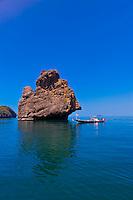 Fishing boats, Angthong National Marine Park (42 limestone islands) near Koh Samui (island), Gulf of Thailand, Thailand