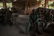 Rangers work on an exercise during a classroom training at Garamba National Park Headquarters on November 27, 2017.