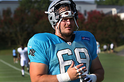 July 28, 2018 - Spartanburg, SC, U.S. - SPARTANBURG, SC - JULY 28: Tyler Larsen (69) center Carolina Panthers tapes his fingers as he walks to the field for the third day of the Carolina Panthers training camp practice at Wofford College July 28, 2018 in Spartanburg, S.C. (Photo by John Byrum/Icon Sportswire) (Credit Image: © John Byrum/Icon SMI via ZUMA Press)