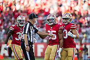 San Francisco 49ers strong safety Eric Reid (35) reacts to a flag called against him during a NFL game against the Arizona Cardinals at Levi's Stadium in Santa Clara, Calif., on November 5, 2017. (Stan Olszewski/Special to S.F. Examiner)