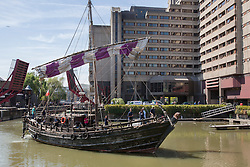 © licensed to London News Pictures. London, UK 30/05/2012. Replica of Phoenicia ship from 600 BC going into St Katherine Docks in London this morning, 2,500 years after the original expedition to circumnavigate Africa. Photo credit: Tolga Akmen/LNP