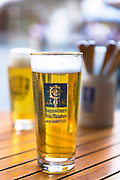Glass of Augustiner Brau Munchen Gegrundet 1328 in Munich, Bavaria, Germany