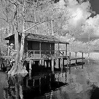 Infrared photo of Fish Kamp at Blue Cypress Lake, Florida