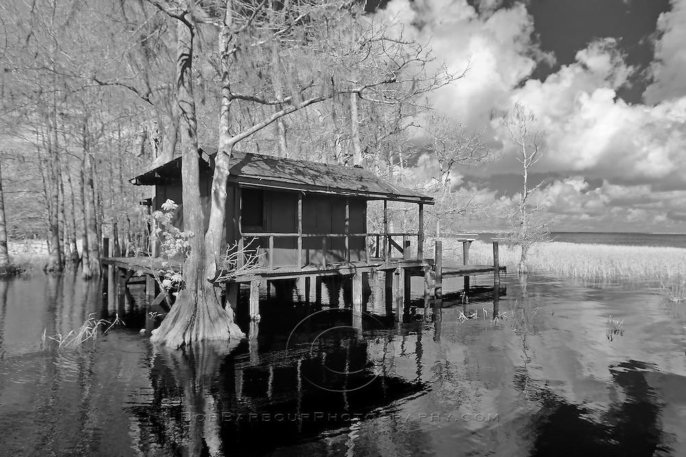 Infrared photo of Fish Kamp at Blue Cypress Lake, Florida