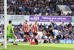 James Norwood of Ipswich Town has a shot blocked by George Dobson of Sunderland - Mandatory by-line: Arron Gent/JMP - 10/08/2019 - FOOTBALL - Portman Road - Ipswich, England - Ipswich Town v Sunderland - Sky Bet League One