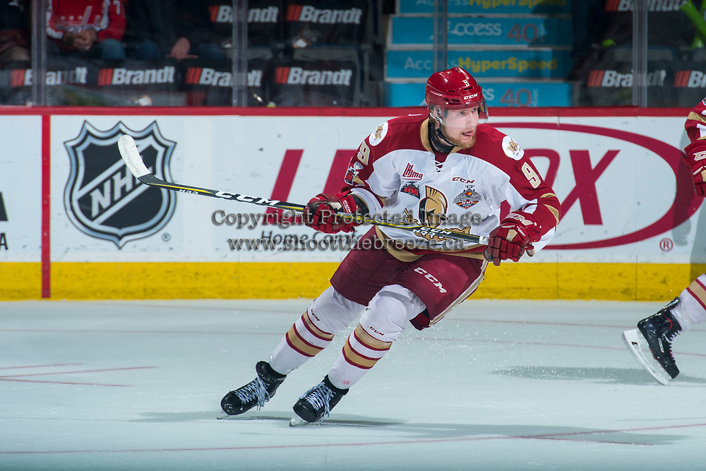 REGINA, SK - MAY 22:Samuel L'Italien #9 of Acadie-Bathurst Titan skates against the Hamilton Bulldogs at the Brandt Centre on May 22, 2018 in Regina, Canada. (Photo by Marissa Baecker/CHL Images)