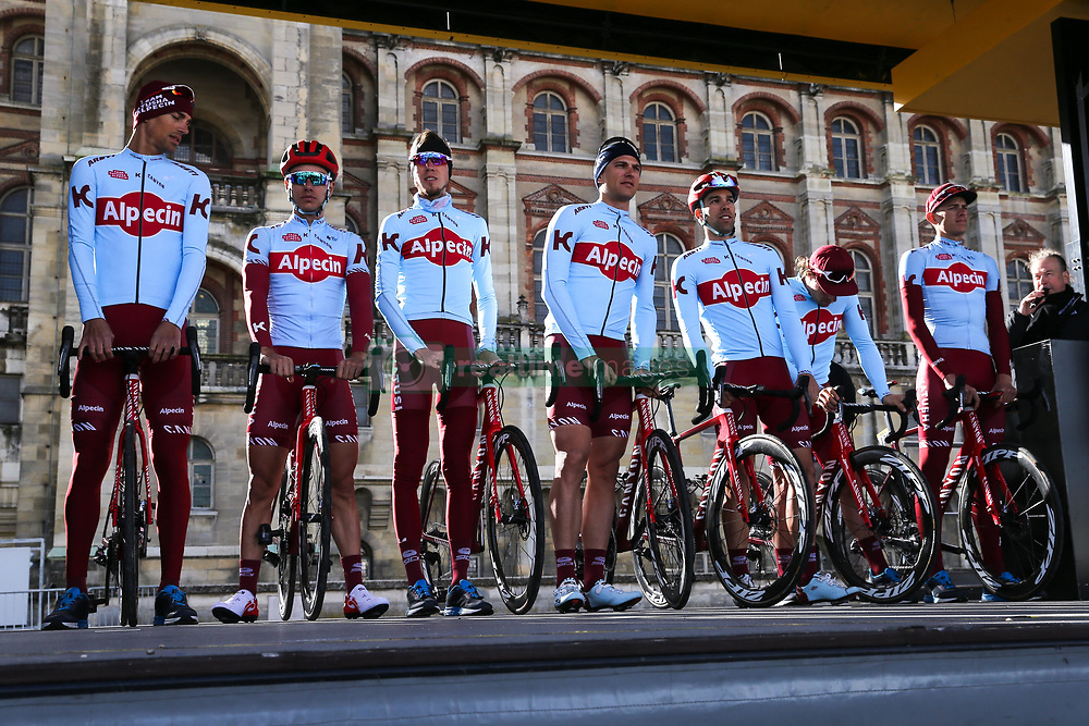 March 10, 2019 - Paris, Ile-de-France, France - Katusha Alpecin cycling team poses during the team's presentation at the start of the 138,5km 1st stage of the 77th Paris-Nice cycling race between Saint-Germain-en-Laye and Saint-Germain-en-Laye in the west suburb of Paris, France, on March 10, 2019. Whether leaders of a team or merely a team-mate, the riders on the Paris-Nice try to excel, either individually or as a team. According to the stage profiles, changes in the general standings or some unexpected circumstance during the race, each rider adapts his objectives to the situation. (Credit Image: © Michel Stoupak/NurPhoto via ZUMA Press)