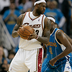 01 November 2008: Cleveland Cavaliers forward LeBron James (23) posts up New Orleans Hornets forward James Posey (41) during a 104-92 win by the New Orleans Hornets over the Cleveland Cavaliers at the New Orleans Arena in New Orleans, LA..