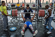 2016/06/07 &ndash; Bogotá, Colombia: Fábio Torres, 39, lifts 240kgs under the supervision of his coach Henri Oviedo during a training session in the High Performance Center, Bogotá, 7th June, 2016.<br /> -<br /> Fábio is a retired Army Corporal. In 2008, he stepped on a landmine while on patrol in the Colombian jungle, losing his left leg. The accident became a big change in Fabio&rsquo;s life; he felt he had to learn everything again. Fábio found strength to continue his life through sport, and specially powerlifting, which he at first just practiced as hobby. Since 2009 he dedicates all his time to the sport, in the beginning just as a rehabilitation process and now as fulltime sportsman. He has had a successful year, in 2016; Fábio became World Champion of Powerlifting in Brazil after lifting 211kg. In the Rio 2016 Paralympics, he wants to bring a medal home. Regarding the violence in his country, he hopes that the peace process goes further. There are already too many victims, and he doesn&rsquo;t want people to go through what he has been through. He believes that the country need less violence and more sports, so they can get peace in Colombia. (Eduardo Leal)