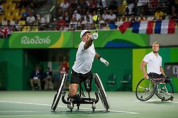Stephane Houdet (L) and Nicolas Peifer of France play against Alfie Hewett (out of frame) and Gordon Reid (out of frame) of the UK in the Tennis Men's Doubles Gold Medal Match during Day 8 of the Rio 2016 Summer Paralympics Games on September 15, 2016 in Olympic Tennis Centre, Rio de Janeiro, Brazil. Photo by Vid Ponikvar / Sportida