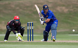 Otago Volts' Neil Broom, right, batting as Canterbury's Tom Latham keeps wicket in the Ford Trophy one-day domestic cricket match at the University of Otago Oval, Dunedin, New Zealand, Saturday, January 27, 2018. Credit:SNPA / Adam Binns ** NO ARCHIVING**