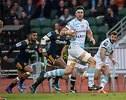 Racing 92 player THIBAULT DUBARRY makes a clear sprint during the Natixis Cup rugby match between French team Racing 92 and New Zealand team Otago Highlanders at Sui San Wan Stadium in Hong Kong.