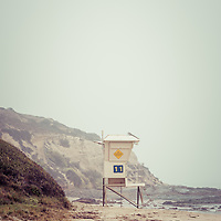 Crystal Cove Lifeguard Tower #11 retro picture. Crystal Cove State Park is in Laguna Beach along the Pacific Ocean in Orange County California.