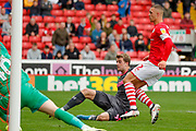 Leeds United forward Patrick Bamford (9) scores but it is ruled out for offside during the EFL Sky Bet Championship match between Barnsley and Leeds United at Oakwell, Barnsley, England on 15 September 2019.
