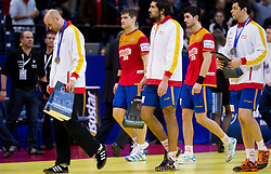 Dissappointed Jose Javier Hombrados of Spain and other players of Spain after the handball match between Croatia and Spain for 3rd place game at 10th EHF European Handball Championship Serbia 2012, on January 29, 2012 in Beogradska Arena, Belgrade, Serbia.  Croatia defeated Spain 31-27 and won 3rd place. (Photo By Vid Ponikvar / Sportida.com)