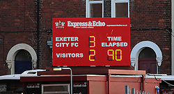 The final scoreline reads Exeter City 3-2 Yeovil Town - Photo mandatory by-line: Harry Trump/JMP - Mobile: 07966 386802 - 08/08/15 - SPORT - FOOTBALL - Sky Bet League Two - Exeter City v Yeovil Town - St James Park, Exeter, England.