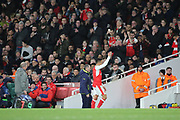 Arsenal attacker Alexis Sanchez (7) waving to Arsenal fans during the Champions League round of 16, game 2 match between Arsenal and Bayern Munich at the Emirates Stadium, London, England on 7 March 2017. Photo by Matthew Redman.